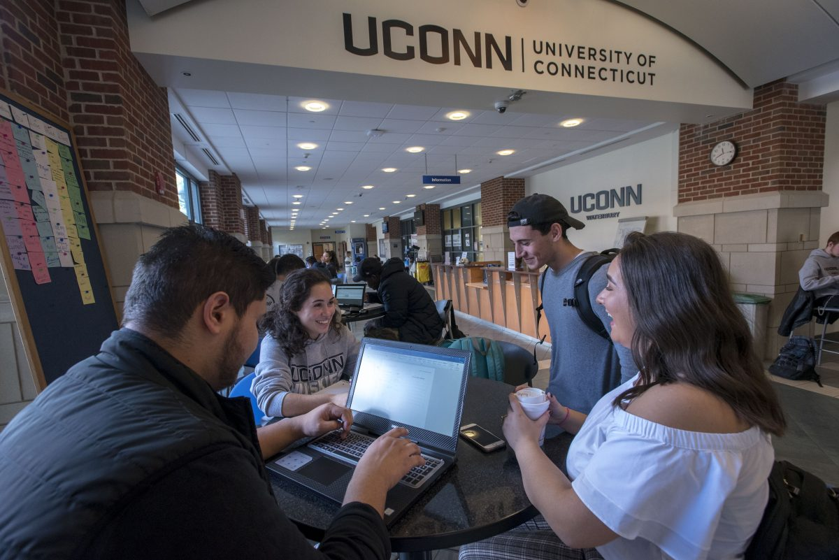 Students studying at Uconn Waterbury on Oct. 25, 2018. (Sean Flynn/UConn Photo)