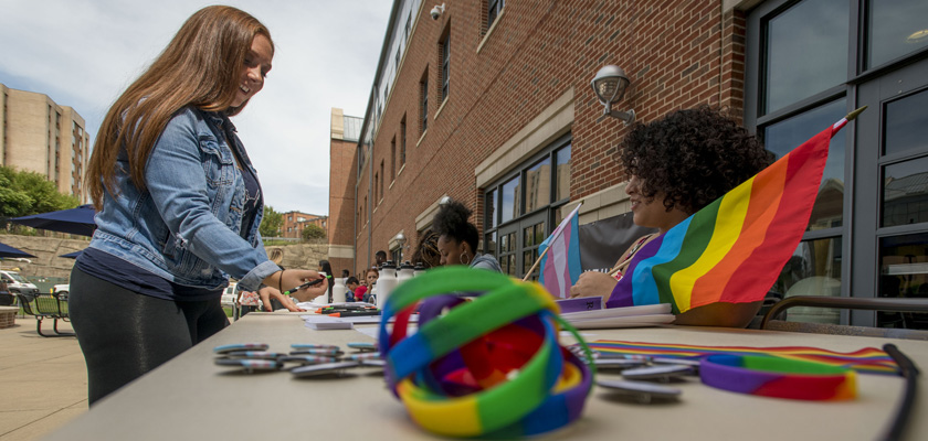 Celebrating Gay Pride and LBGT awareness during the Involvement Fair at the Waterbury campus