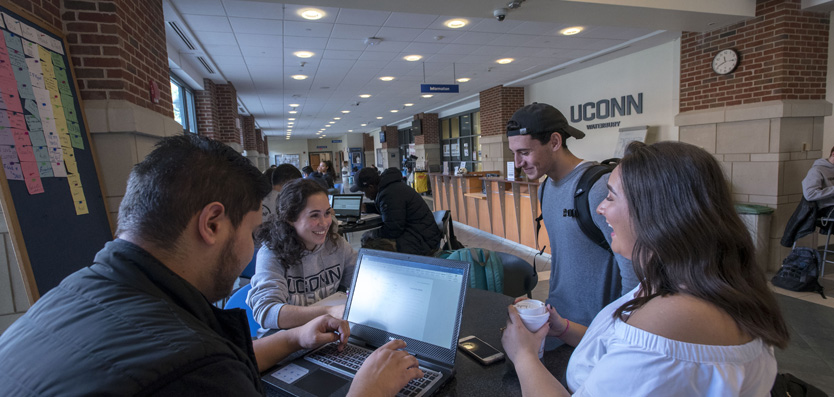 Student at the UConn Waterbury lounge